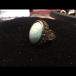 Robins egg turquoise and Sterling ring size 8
